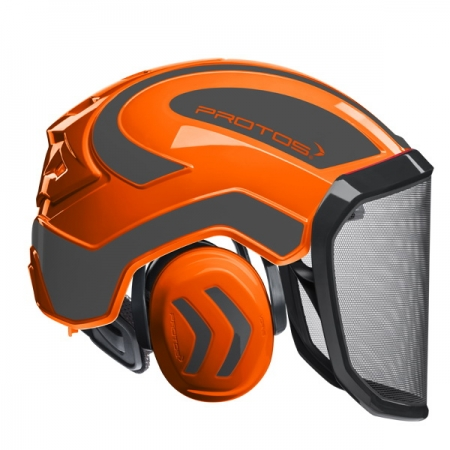 Protos Integral Forest Helm orange/grau mit grobem Visier (G16) !